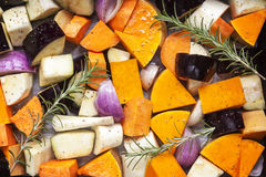Vegetables Ready for Roasting Top View Royalty Free Stock Images