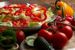 Vegetables ready for salad Royalty Free Stock Photo