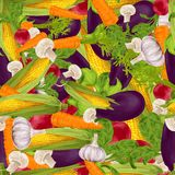 Vegetables realistic seamless background Stock Photos