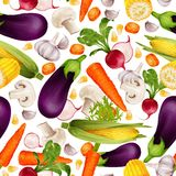 Vegetables realistic seamless pattern. Vegetable organic food realistic seamless pattern with cut carrot maize stalk aubergine vector illustration Royalty Free Stock Photography