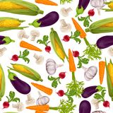 Vegetables realistic seamless pattern Stock Photo