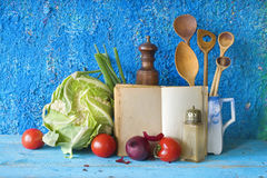 Vegetables and recipe book Royalty Free Stock Photo