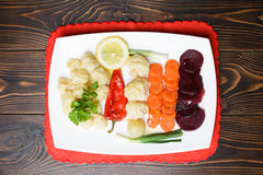 Vegetables on Red Napkin Stock Image