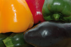 Vegetables. Red pepper and yellow, green, zucchini, eggplant, close photographed, vegetables Stock Photos