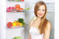 Vegetables in the refrigerator Stock Photos
