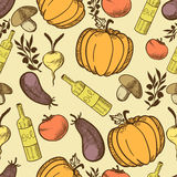 Vegetables in retro style seamless pattern Stock Photo
