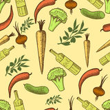 Vegetables in retro style seamless pattern Royalty Free Stock Photos
