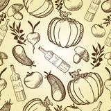 Vegetables in retro style seamless pattern Royalty Free Stock Photo
