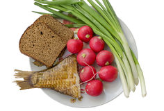 Vegetables, ridge and fish on a plate Stock Photo