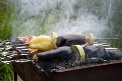Vegetables are roasted over a fire Stock Image