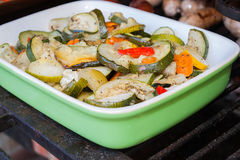 Vegetables in roasting pan Royalty Free Stock Photography