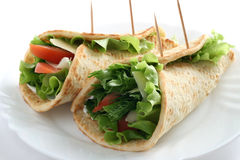 Vegetables rolled to flat cake Stock Photography