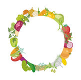 Vegetables round frame with space for text. Flat style.  on white background. Healthy lifestyle, vegan. Vegetarian diet, raw food. Vector illustration Royalty Free Stock Photography