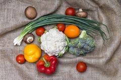 Vegetables on sackcloth Stock Photo