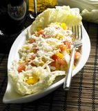 Vegetables salad. Salad with mungo and cheese Royalty Free Stock Photo