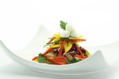 Vegetables salad. With mozzarella on white background Stock Photos