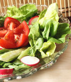 Vegetables salad. Salad with vegetables in a transparent bowl Royalty Free Stock Images