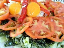 Vegetables salad. Detail witm tomatoes, carrots, cabbage and chard Stock Photo