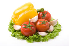 Vegetables on salad. A photo of fresh vegetables on a list of salad Royalty Free Stock Photography