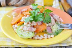 Vegetables salad with bacon Royalty Free Stock Photography