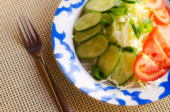 Vegetables. Salad of cucumbers, tomatoes and cabbage Royalty Free Stock Photos