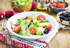 Vegetables Salad Dish with Fresh Organic Lettuce,Tomatoes,Olives Stock Photography