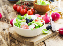 Vegetables Salad Dish with Fresh Organic Lettuce,Tomatoes,Olives Royalty Free Stock Photography