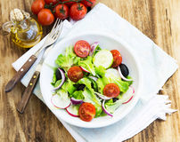 Vegetables Salad Dish with Fresh Organic Lettuce,Tomatoes,Olives Royalty Free Stock Photo