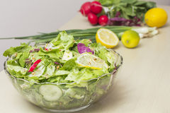 Vegetables salad. Fresh lettuce, radishes and other vegetables Royalty Free Stock Images
