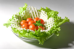 Vegetables salad in a glass salad bowl. Over white background royalty free stock image