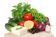 Vegetables. For salad isolated on white background Royalty Free Stock Image