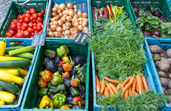 Vegetables and salad at a market Royalty Free Stock Photography