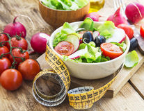 Vegetables Salad with Measure Tape.Healthy Diet Royalty Free Stock Photo
