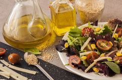 Vegetables salad. Olive oil, spices and sesame seeds. Salad of Spain or Italy Royalty Free Stock Photography