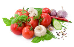 Vegetables for salad with pepper, tomatoes, basil and cucumber Stock Image
