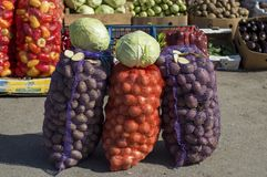 Vegetables for sale in cardboard boxes under the open sky. stock images