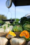 Vegetables for sale at a farmer`s market royalty free stock photo