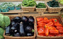Eggplant, peppers for sale at farmers market Royalty Free Stock Photography