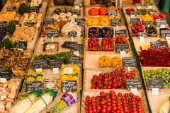Vegetables for sale at a farmers market royalty free stock photos