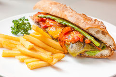 Vegetables sandwitch serve with fried pototo Royalty Free Stock Image