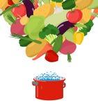 Vegetables in saucepan. Boil vegetable soup. Vegetarian food. Co Stock Image