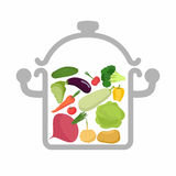 Vegetables in a saucepan. Logo for  vegetarian menu. Useful and Royalty Free Stock Photography