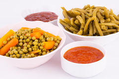 Vegetables and sauces Stock Image