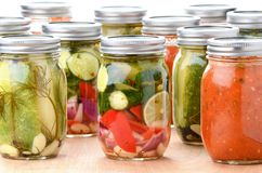 Vegetables and Sauces Preserved in Jars Stock Image