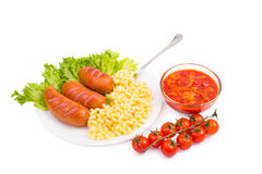 Vegetables, sausages, greens Royalty Free Stock Images