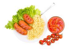 Vegetables, sausages, greens Stock Image