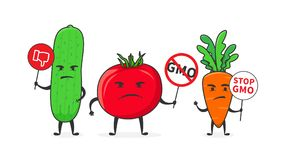Vegetables say stop gmo vector illustration. Cucumber, tomato and carrot oppose GMO food creative concept Royalty Free Stock Image