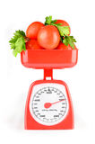 Vegetables and scales Stock Photo