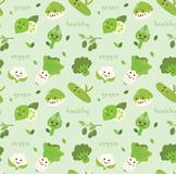 Vegetables seamless background in kawaii style vector stock illustration