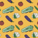 Vegetables seamless background. Sketch color Royalty Free Stock Photo